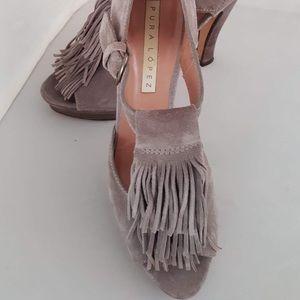 Pura Lopez gray suede tasseled open toed pumps